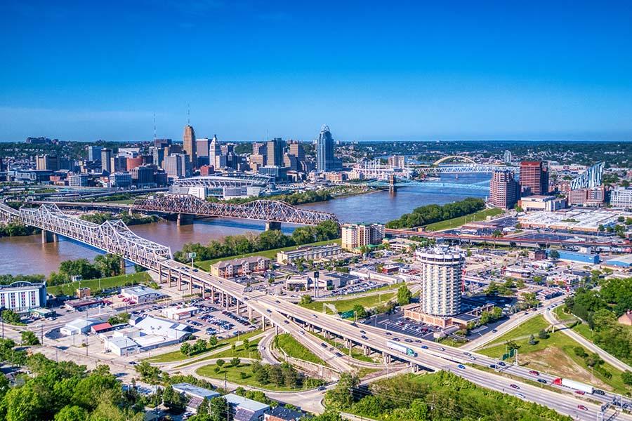 Ohio - Aerial View of Cincinnati Ohio on Sunny Day