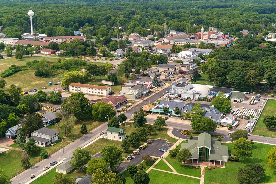 Ohio - Aerial View of Small Town in Ohio